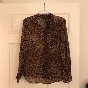 Sheer Leopard Print Shirt 🐆